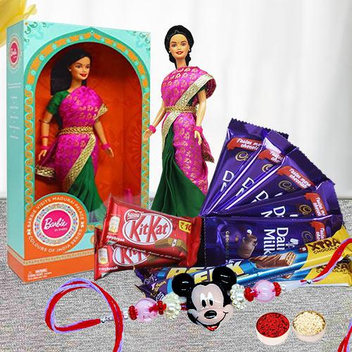 Exclusive Barbie with Mickey Rakhi and Assorted Chocolates