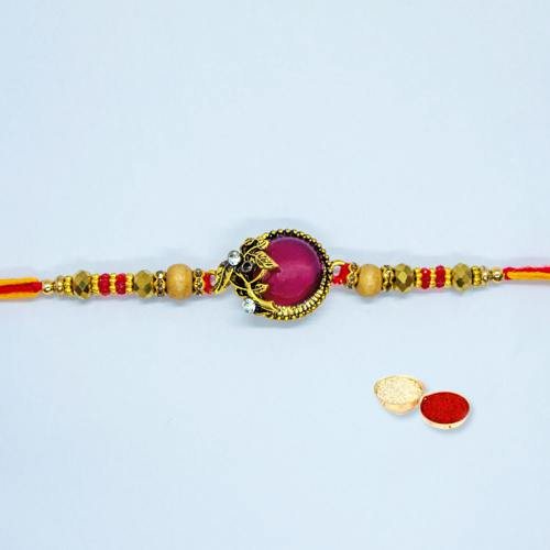 Beautiful Designer Rakhi with Free Roli Tilak and Chawal on Rakhi Festival