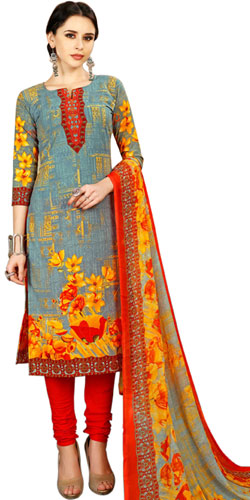 Graceful Spun Cotton Salwar Suit in Floral Print