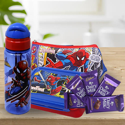 Alluring Spiderman Kids Stationery, Colours n Chocolate Combo