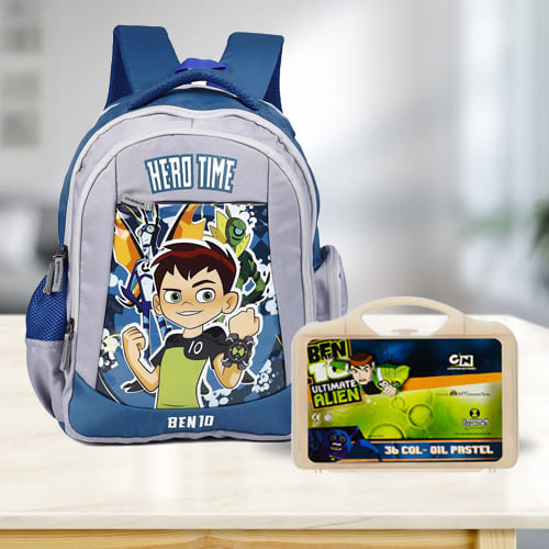 Exciting Ben 10 School Bag n Colouring Set