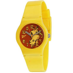 Titan Zoop Presents Cute Animal Printed Yellow Coloured Kids Watch