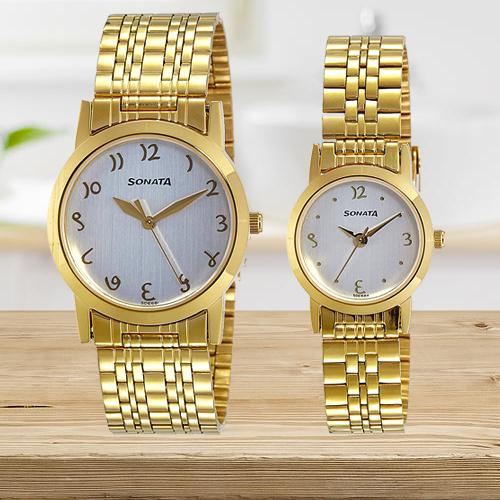 Wonderful Sonata Analog White Dial Couples Watch